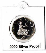 MEGA RARE 2000 50p SILVER PROOF COIN. MILLENNIUM, Britannia