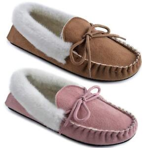 LADIES-MOCCASINS-SLIPPERS-LOAFERS-FAUX-SUEDE-SHEEPSKIN-FUR-LINED-WINTER-SHOES