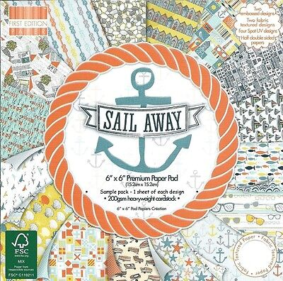 DOVECRAFT SAIL AWAY PREMIUM PAPERS 6 X 6 SAMPLE PACK - NEW RELEASE - 16 SHEETS