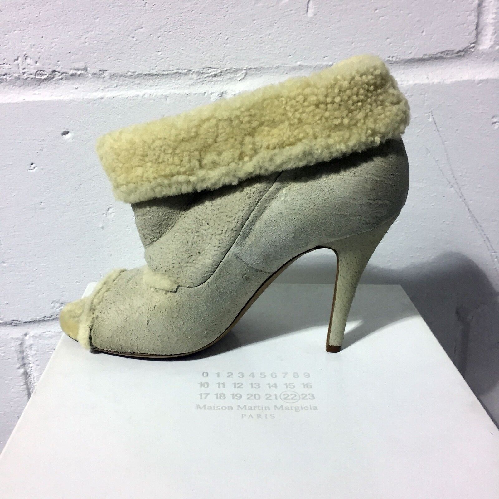 Martin Maison Margiela Peep Toe Suede Shearling Boots Size 7 and 8