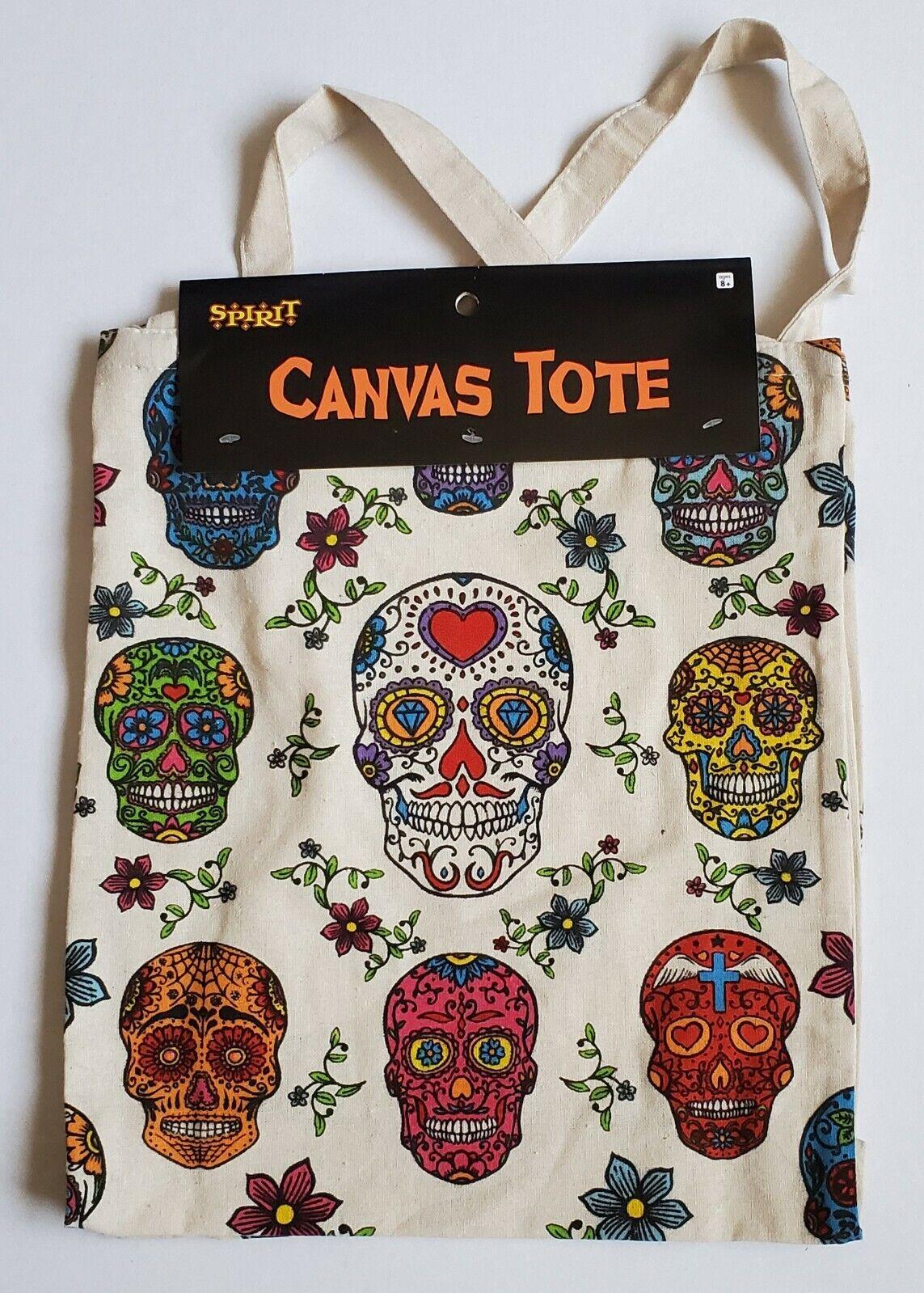Spirit Multi-Colored Skull Canvas Tote Bag NWT