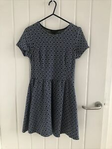 Topshop-100-Cotton-Blue-Geometric-Tile-Pattern-Skater-Flare-Dress-Size-8-Casual