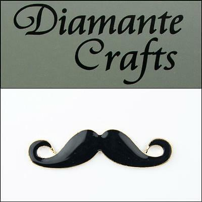 3D Moustache Gold Coloured Alloy Black Enamel DIY Mobile Phone Case Deco 2013HZ