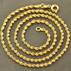 24K-Vintage-Yellow-Gold-Filled-Water-Wave-Chain-Necklace-17-7-034-Long-Fit-Pendant