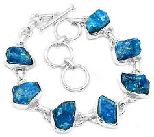 Neon Blue Apatite Rough 925 Sterling Silver Bracelet Jewelry NBAB5