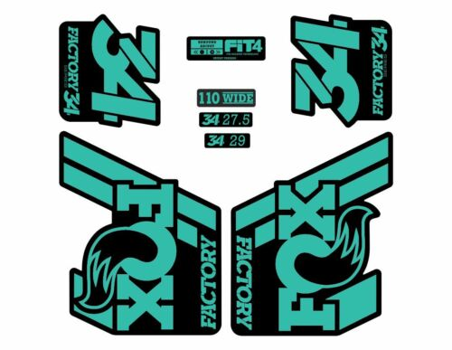 FOX 34 Float 2018-19 Forks Suspension Factory Decals Stickers Adhesive Turquoise