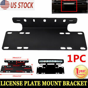 Front-Bumper-License-Plate-Mount-Bracket-LED-Light-Bar-Holder-For-Offroad-Jeep