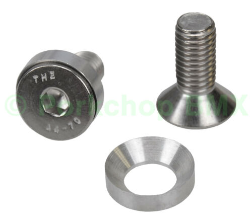 STAINLESS M10 crank spindle bolts concave washers fit Odyssey Black Widow PAIR