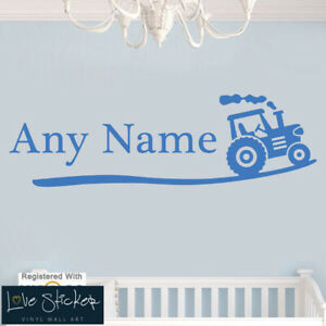 Wall Stickers Tractor Personalise Boys Bedroom Farmer Art Decals Vinyl Home Room