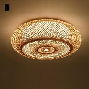 Image Is Loading Bamboo Wicker Rattan Lantern Shade Ceiling Light Fixture