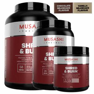 MUSASHI Shred & Burn Protein Powder Choose 340g 900g 2KG and Chocolate / Vanilla