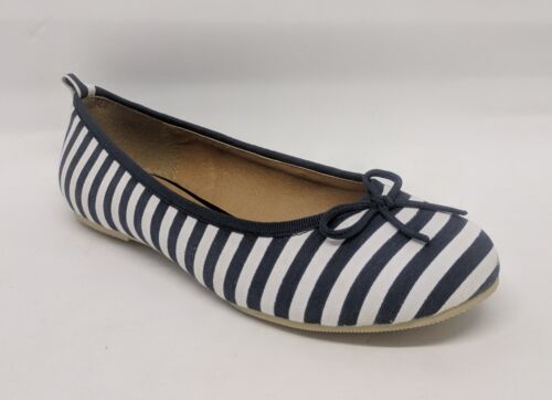 Canvas Striped Ballet Flat w// Bow #Joseph-s