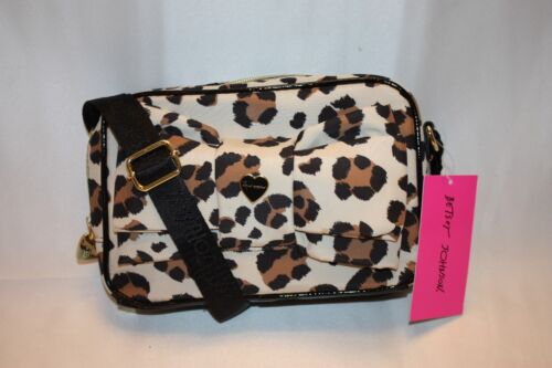 NEW BETSEY JOHNSON Nylon Cheetah Enamel Bow LUXE LEO Crossbody Bag $68 Details about  /NWT