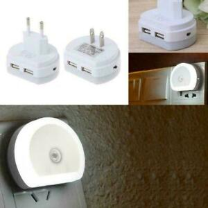 LED-Night-Light-With-Dual-USB-Wall-Charger-Plug-Dusk-Dawn-Wall-Lamp-New-to-F0K6
