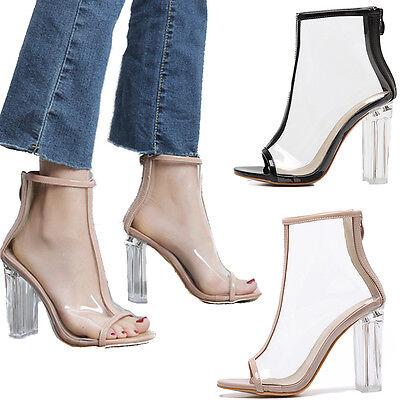 New Women Transparent Boot Lucite High Heels Sandal Party Zip Back Shoes Block
