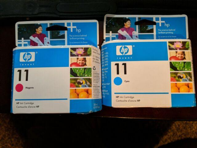 2 New HP 11 Magenta & Cyan OEM C4836AN  C4837AN Printer Print ink cartridges