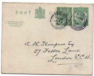 1917 H&B CP69 Used Outward to London EC4 KGV 1/2d Green L13 PS Reply Postcard