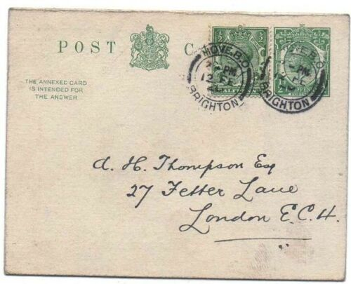 1917 H&B CP69 Used Outward to London EC4 KGV 12d Green L13 PS Reply PC REDUCED