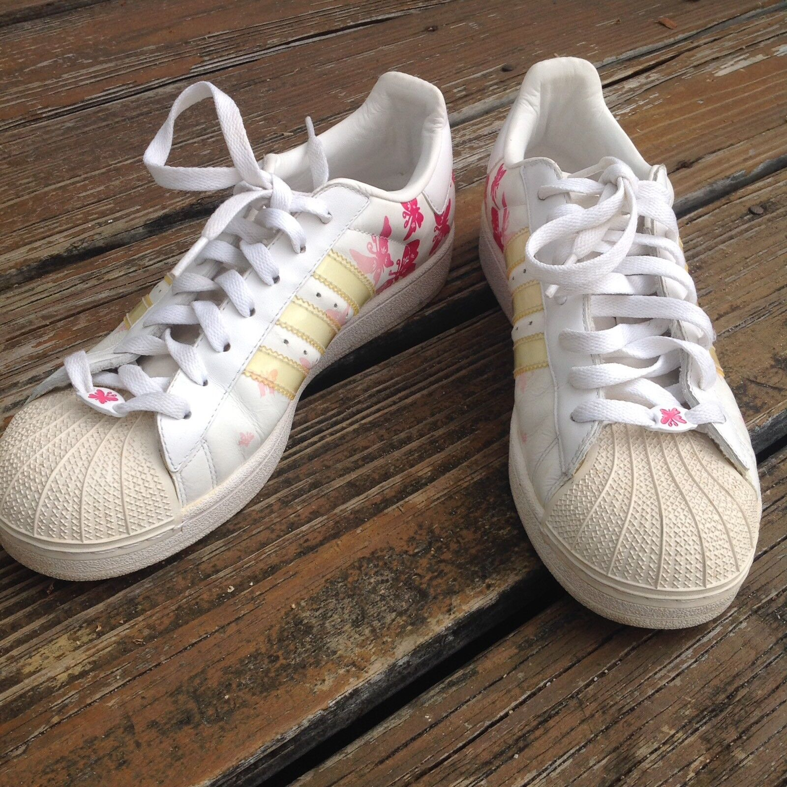 Adidas Butterfly White Pink Sneakers Womens Sz 8.5 Athletic Shoes RARE HTF Seasonal price cuts, discount benefits