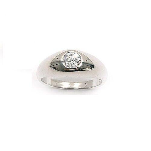 Dolly-Bijoux Bague T64 Gros Jonc Diamant Cz 5 mm Clos Argent Massif 925