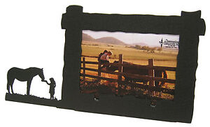 Horse-Picture-Frame-4-034-x6-034-H-Lunch-with-a-Friend-Feeding