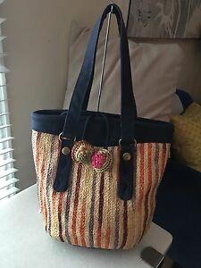Image Is Loading Lucky Brand Multi Color Stripe Straw Beach Bag