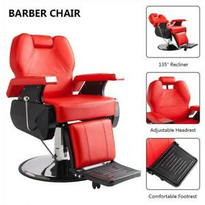 Hydraulic Deluxe Recliner Barber Chair Beauty Hair Salon Spa Equipment Red Ebay