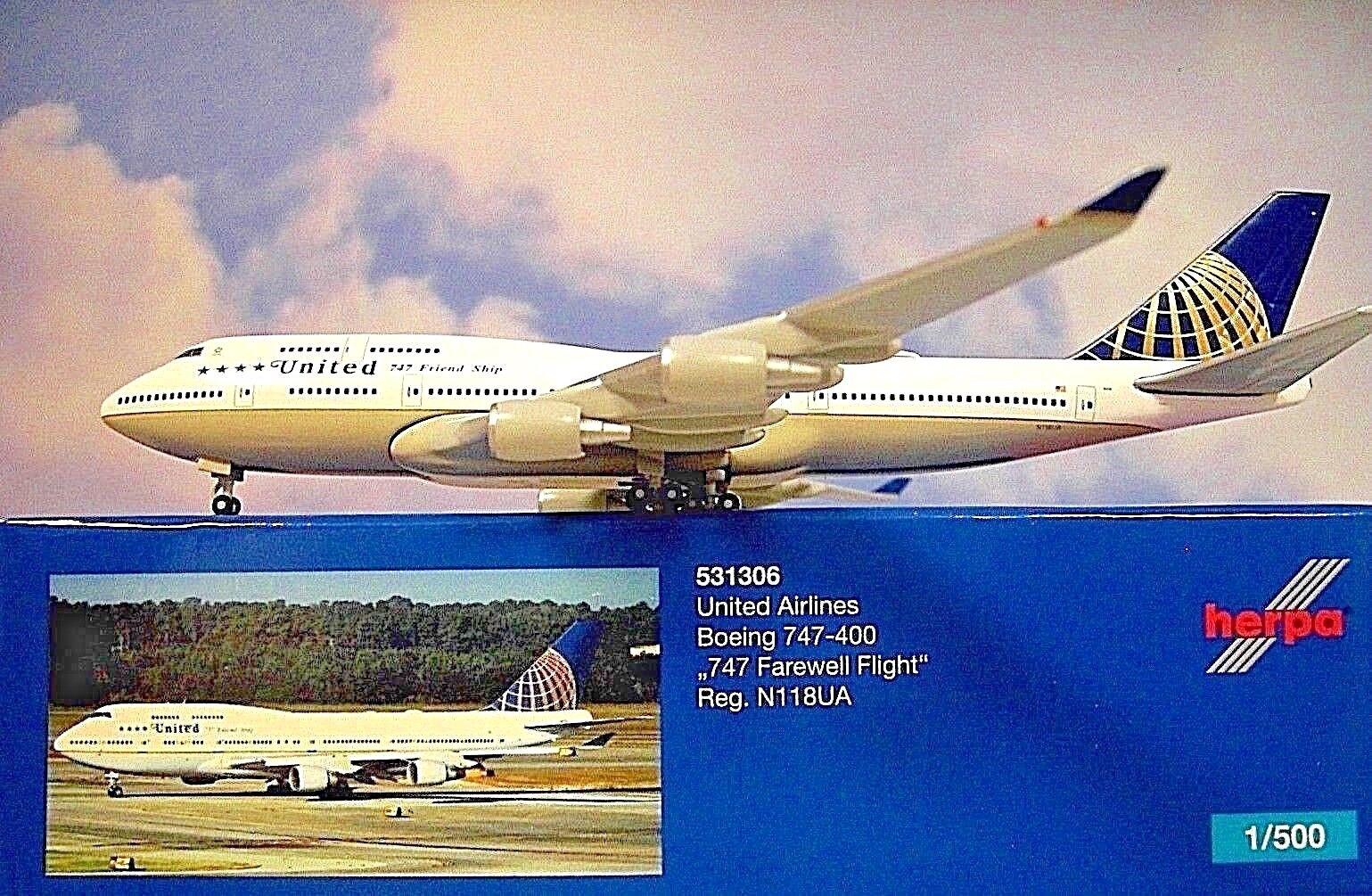 Herpa Herpa Herpa Wings 1 500 Boeing 747-400 United N118ua 747 531306 Modellairport500 ed3ae4