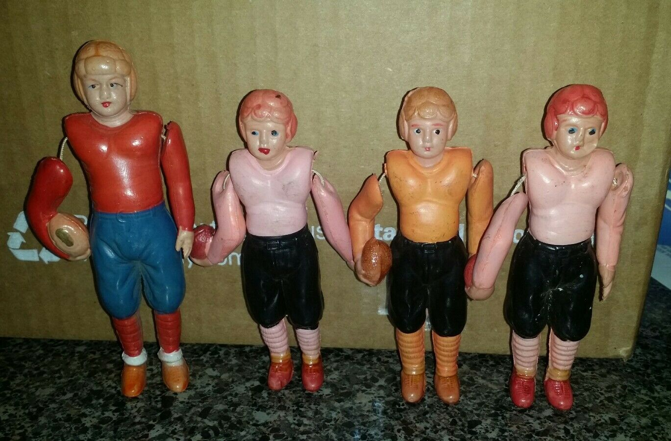 Celluloid Football Players Toys - Lot of 4 - NFLs Patriots Bears