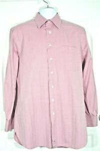 John-W-Nordstrom-Mens-Dress-Shirt-15-5-34-Pink-Mauve-Italian-Cotton-Herringbon