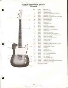vintage ad sheet 3565 fender guitar parts list 39 62 esquier 277800 ebay. Black Bedroom Furniture Sets. Home Design Ideas
