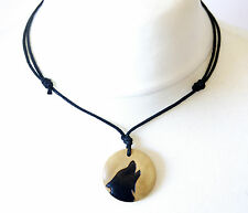 Howling Wolf Necklace Gift Werewolves Mens Ladies Pendant Wood Choker Tribal