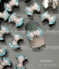 Nail Art Decoration (10 x 7)mm Bow Knot Glitter Blue Rhinestones Pearl #CA091