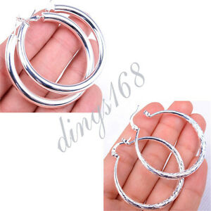 # MID-SUMMER SAVING# 2 pairs Round&Fish Scale 925 Sterling Silver Earrings S119