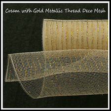 Deco Mesh Crema Metálico/oro hilo 50cm X 9m Roll - 52 Colores Disponibles-UK