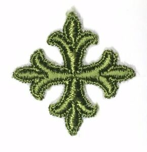 Vintage-Frances-Cruz-Fleury-Bordado-1-034-para-Coser-Verde-D-Emblema-Parche-12