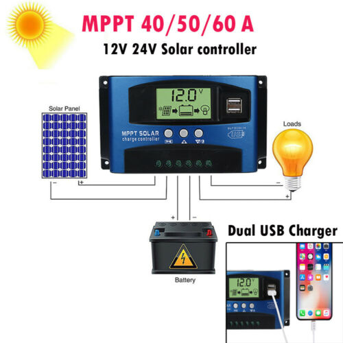 100A MPPT Solar Panel Regulator Battery Charger Controller 12//24V With LCD USB