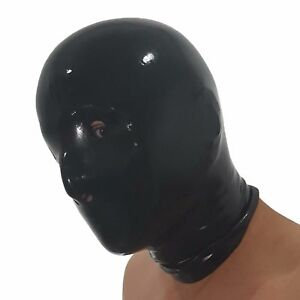 one size Brand New Black Unisex Anatomical Latex Hood with open Eyes /& Nose