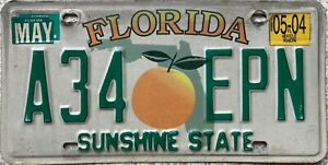 Florida-Peach-Sunshine-State-American-License-Licence-USA-Number-Plate-A34-EPN