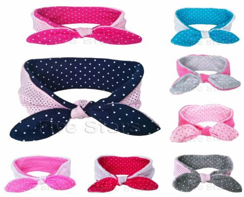 Baby Kid Girl Bunny Headband Reversible Cotton Rabbit Bow Turban Knot Hair Band