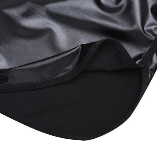 Mens Patent Leather Boxer Shors Wetlook Zipper Trunks Underwear Underpants Club