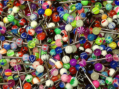 100pcs Multi-color Ball Tongue Nipple Bar Ring Barbell Body Jewelry Piercing Pop