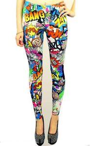 mujer-chica-CoMIC-leggings-estampados-Kapow-Grafiti-GB-Talla-8-10-12-14-SM-ml