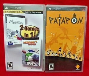 Mercury-1-2-amp-Patapon-Sony-PSP-Game-Playstation-Portable-1-Owner-Lot-Working