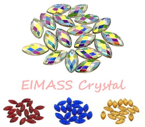 Embellishment 50 x Horse Eye Navette Shape EIMASS® Acrylic Rhinestones Craft