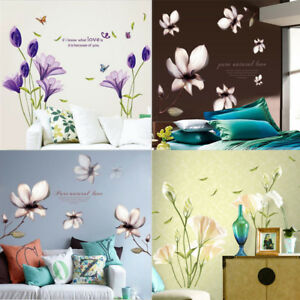 Amovible-fleurs-Maison-Salon-Murale-Decoration-Art-Vinyle-Decalque-A-faire-soi-meme-Wall-Sticker