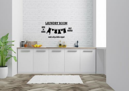 Laundry Room Open 24 H Style Decor Wall Art Decal Vinyl Sticker