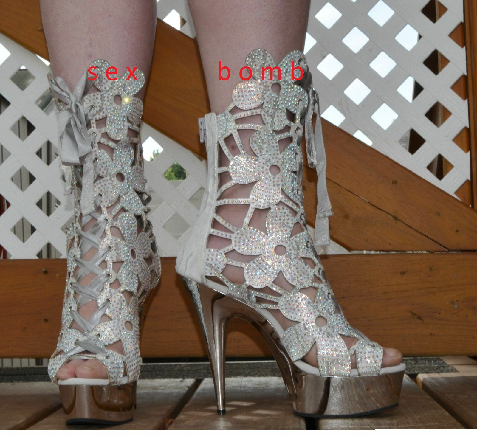 SEXY sandali stivaletti VEGAN silver silver silver plateau TACCO 15 STRASS DAL 36 A 44 GLAM 0eec49