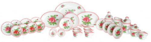 35pcs ceramic dollhouse miniature furniture 1//12 scale T8484 Tea Set Red Rose