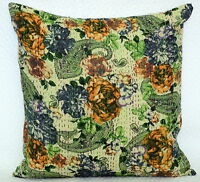Indian Cotton Floral Cushion Cover Throw Sofa Pillow Kantha Case Home Décor 16""